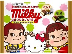 不二家 ペコポコ×ハローキティ ミルキーチョコレート ミルク&抹茶 袋68g