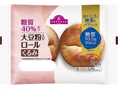 トップバリュ 糖質40%オフ 大豆粉入りロール くるみ 袋2個