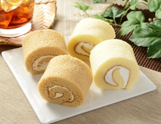 ローソン ロールケーキ4個入 コーヒー風味クリームと北海道産牛乳入りクリーム