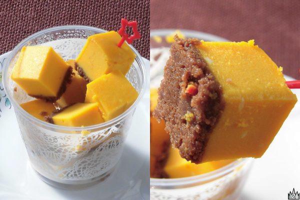 カボチャと濃厚なクリームチーズの一口サイズチーズケーキと砕いたココアクッキーを合わせたハロウィン向けカップスイーツ。