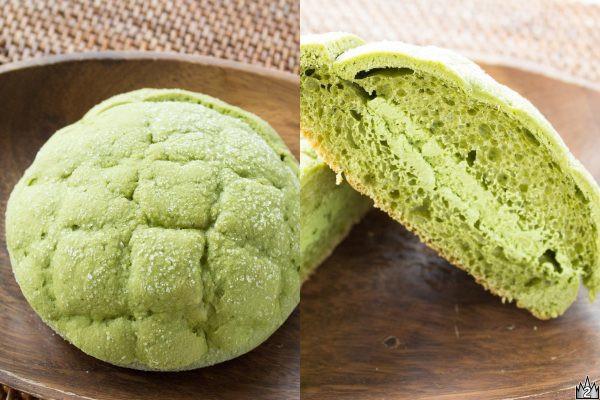 京都宇治の老舗茶舗「上林春松本店」の抹茶を生地とホイップに使用したメロンパン。