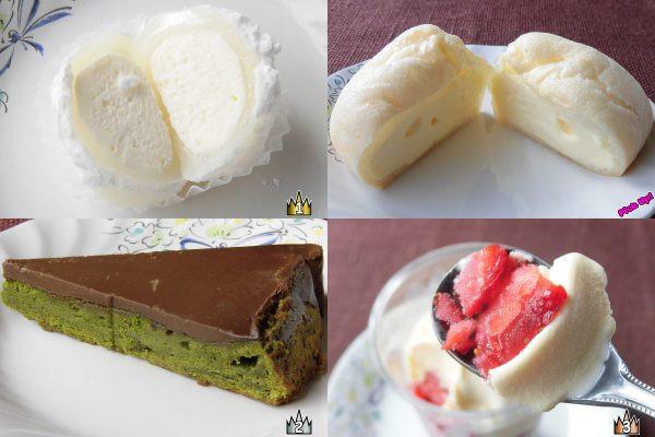3位:ミニストップ「果実氷いちご」、2位:セブン-イレブン「宇治抹茶の生ガトーショコラ」、ピックアップ:セブン-イレブン「さわやかレアチーズのしろもこ」、1位:ローソン「もちふわチーズ大福」