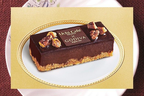 全粒粉ビスキュイにショコラ生地を乗せ、キャラメリゼしたナッツを乗せたUchi Café×GODIVA3周年記念商品。
