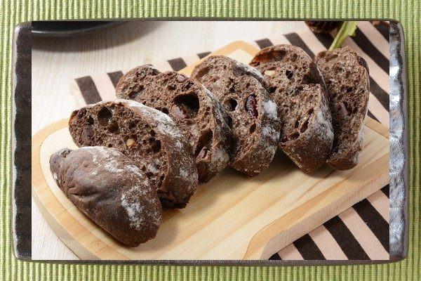 打ち粉をかぶったチョコ色の、平たい楕円形のパン。